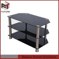 cheap painting glass stainless steel LED TV table