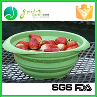 wholesale custom FDA CIQ collapsible silicone plastic sink colander with lid