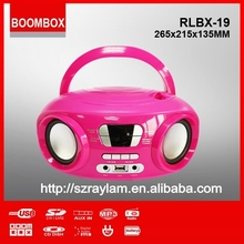 New product RLBX-19 USB AUX-IN Battery powered bluetooth portable cd player with built in speaker