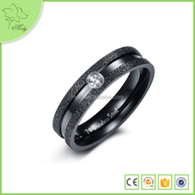 7# Western Style Black Titanium Steel Ring, Fashion with White Crystal Ring Tide for Man