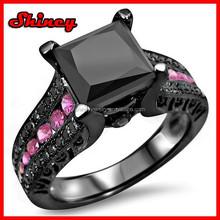 princess cut black cubic zirconia silver diamond ring jewelry