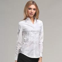HJC-8238 Veri Gude Latest office shirts slim fit plian white cotton long sleeve womens's formal shirts