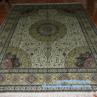 8x10 ft Kelly unique color four forner isfahan silk rugs