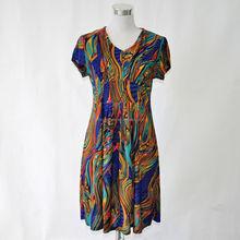 Short sleeve new design elastic ladies casual dress