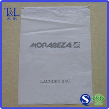 Size 56*40.5 cm white plastic home laundry bag with black printing, white pull string bag for laundry