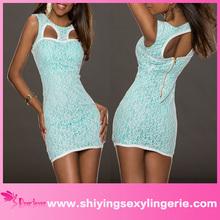venta al por mayor sexy bebé azul totalmente forrado de encaje las mujeres vestidos de club 2014