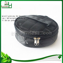 zip pu round cosmetic bags with mirror