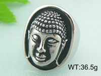 316L Stainless Steel Jewelry Buddha Men's Ring