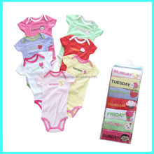 Monday to Sunday baby girls 7 pack rompers, clothing gift set