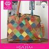 2015 Alibaba China colors collision leather hand bag for woman fashion leisure bag