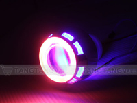 double angel eyes hid bi-xenon projector lens light led motorcycle headlight