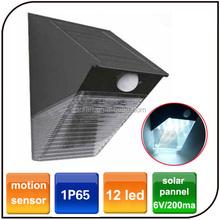 Outdoor 12 led waterproof motion sensor PIR garden solar wall mount light
