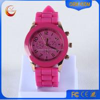 New elegant most popular geneva ladies silicone rubber band watch