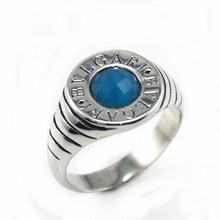 Factory price Fashion Jewelry Stainless Steel Pattern Turquoise gemstone Ring glass faceted Crystal Jewelry cute Girl's Rings