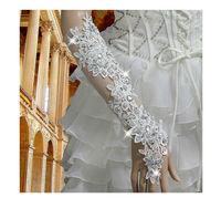 Великолепная невеста похудения сверкающий алмаз кружева свадебное платье Перчатки длинные дизайн сексуальная gl49110