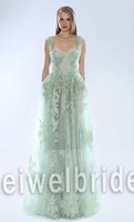 S1315 Sexy scoop straps appliqued see through lace evening dress