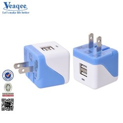 Veaqee Alibaba gold supplier Folding Dual USB Port Travel Charger for iPhone 6