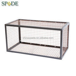 Custom latest loft style clothing store iron wire storage cube/industrial stackable storage wire mesh containers