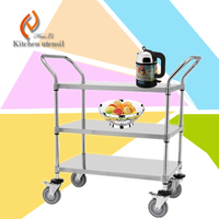 50KG large loading three layers separated assembled hotel guest serve trolley cart for hotel restaurant