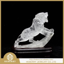 high quality clear quartz crystal tiger sculpture good for decoration or collection