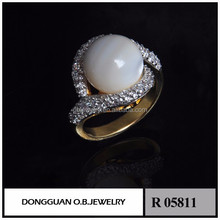 Wholesale Custom Stone pearl shell fashion jewelry floral wedding ring