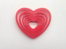 6pcs plastic heart shape cookie cutter set
