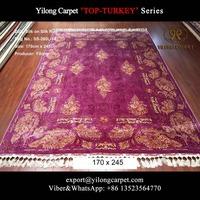 Fresh pink yellow antnemia silk rug handmade turkish rugs