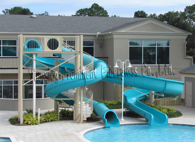 Private swimming pool fiberglass water slide for home buy water slide for home water slides for Swimming pools with waterslides