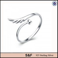 Adjustable ring, 925 sterling silver ring for girl Angel wings ring
