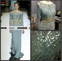 Real Sample Sky Blue Pearl Chiffon Long Sleeve Beading Floor Length Muslim alibaba china dresses
