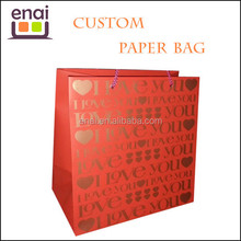with gold plated pattens red glossy gift paper bag for present or promotion items handing