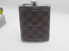 Crystal Bottles For Liquors With Leather Covered Hip Flask