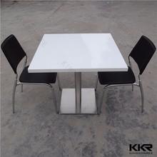 4 posti 600*600 pietra del quarzo tavoli da pranzo con base in acciaio inox
