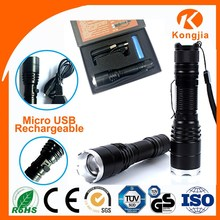 XML T6 Led Aluminium High Power USB 5 pin Rechargeable Zoomable Flashlight Torch Led Flashlight T6 USB