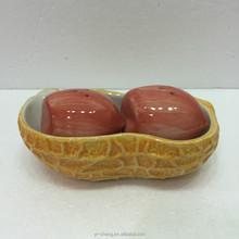 peanut-shaped hand painted ceramic salt and pepper shaker