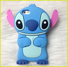 3D Cartoon phone silicone case 3D Stitch silicon rubber case for iphone for iphone 6 6plus