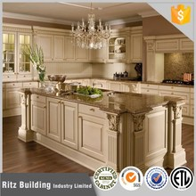 Fashional Mediterranean Style full wooden kitchen cabinet with an island