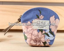 beautiful flower lovely stylish small zipper fabric simple coin purse