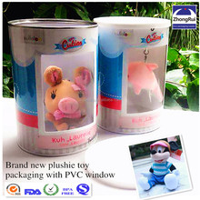 Custom paper soft plush toy container with clear plastic PVC window in china
