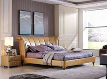 floral design home furniture, bedroom furniture, yellow genuine leather bed, high head board