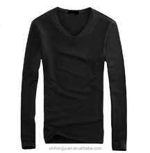 Black blank cotton jersey man v neck popular tshirts in long sleeve