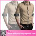 Venta al por mayor baratos de contraste de color caqui trim largo- manga de la camisa para hombre 2015 producto