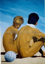 hot nube girl and football boy in the sky and seaside oil painting