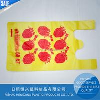 Custom HDPE plastic T-shirt grocery bag for fruit