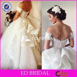 Cutsom Made Off Shoulder Ball Gown Organza Wedding Dress
