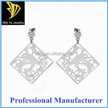 Fashion Stainless Steel Jewelry Square Carved Earrings