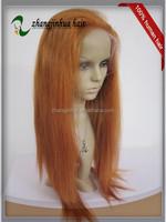 cheap colorful party wig peruvian remy orange human hair orange hair wig