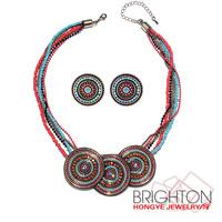 Bohemia Glass Beads Charm Necklace Jewelry Set N1-57429A-7220