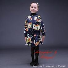 Sıcak satış kızlar 2 adet giyim setleri hayvan logosu baskı ceket ve mini etek kızlar eşofman toptan çocuk giyim cs81009-1