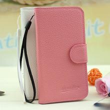 venta al por mayor elegante grano lychee cartera bolsa flip funda de cuero para blackberry z3